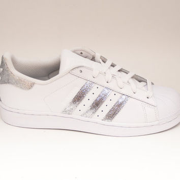 Glitter | Silver Adidas Superstars II Fashion Sneakers Shoes