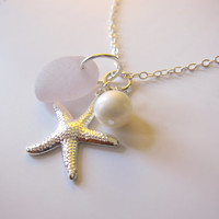 Light Lavender beachglass Necklace with Starfish & swarovski pearl - Perfect mermaid jewlery for your next hawaii vacation FREE SHIPPING