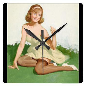 GIL ELVGREN Portrait of a Girl Pin Up Art Square Wall Clock