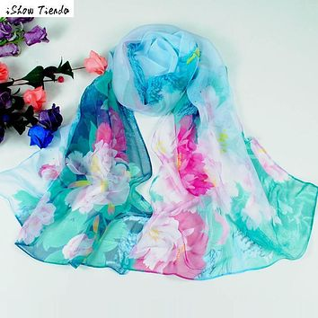 Scarves Fresh Big Flower Printing Women Chinese style Long Wrap Women's Shawl Chiffon Scarf Ponchos And Capes #1025