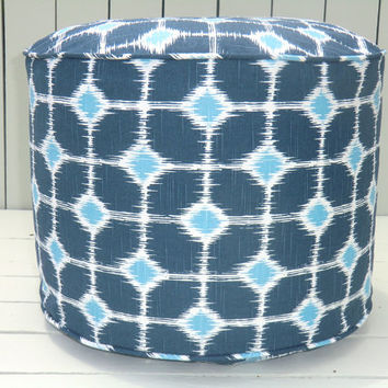 "Blue floor pouf, round ottoman 18"", bean bag chair, turquoise and blue floor cushion, pouffe, ikat floor pillow"
