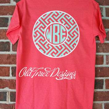 YOUTH Short or Long Sleeve Monogram Greek Key T Shirt Personalized Custom You choose colors! Great for kids or adults.