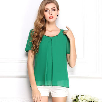Korean Style Solid Chiffon Women Blouse Summer Free Shipping O-Neck Drop Shipping Blouse