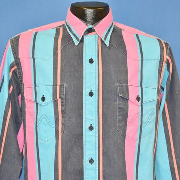 e2bde510f 90s Wrangler Vertical Striped Western Shirt Small