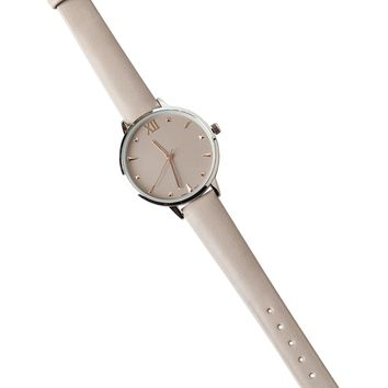 Light Gray Skinny Leather Watch