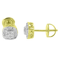 Cluster Set Mens Earrings Studs 14K Yellow Gold Finish Simulated Diamonds Screw On 6mm