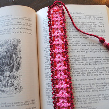 Crochet bookmark, pink with a red border and red ribbon, long tassel,  Valentine's Day bookmark