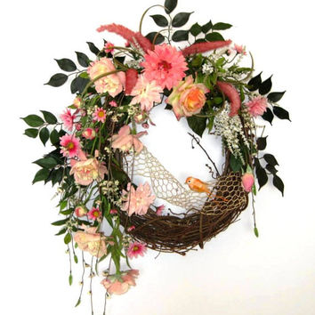 Shabby Chic Pink Floral Wreath with Adorable Little Bird, Silk Floral Wreath, Door Wreath, Grapevine Wreath, Outdoor Wreath, Spring Wreath