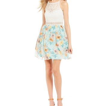 I.N. San Francisco High neck Lace Bodice Floral l Fit-And-Flare Dress | Dillards