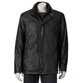 Chaps Leather Car Coat