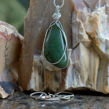Nephrite Jade BC Jade pendant free form shape silver wire wrapped with silver plated necklace