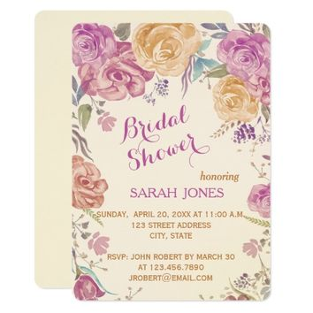 Colorful Garden Roses | Bridal Shower Invitation
