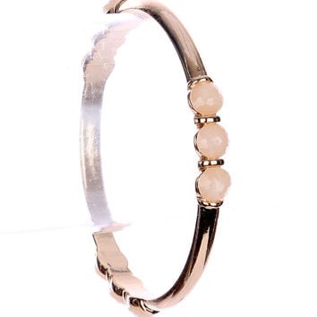 Natural Metal Bangle Glass Stone Bracelet