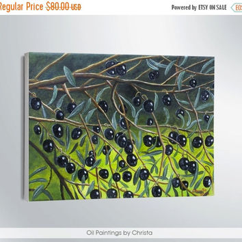 Easter gift On Sale OLIVES painting-personalized gift-oil painting-black olives-Greek art-artwork-Wall decor-canvas-nature-art-hand painting