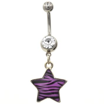 Purple/Black Animal Print Striped Star Belly Ring
