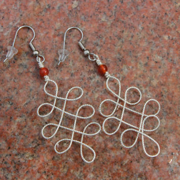 Fancy Ornate Silver Rope Textured Wire Wrapped Earrings, Red and Orange Carnelian Gemstone Earrings Gift Nature Inspired Jewelry For Women