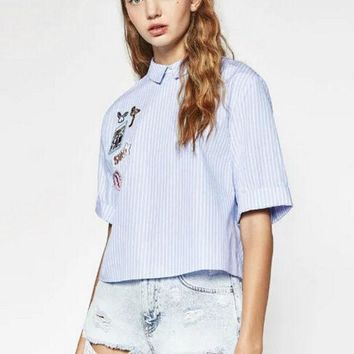 2016 New Fashion Women Cute Label Appliques Back Bow Knot Striped Blouse Lady Elegant Short Sleeve Loose Blusas Shirt Brand Tops