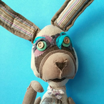 Paul whimsy rabbit unique art doll softie toy kid's room decor OOAK doll