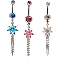 New Charming Dangle Crystal Navel Belly Ring Bling Barbell Button Ring Piercing Body Jewelry = 4672687044