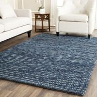 Safavieh Hand-knotted Vegetable Dye Chunky Dark Blue Hemp Rug (6' Square) | Overstock.com Shopping - The Best Deals on Round/Oval/Square
