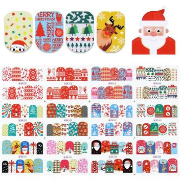 1 Big Sheet Christmas Pattern Nail Water Decal Snowflakes Deer Manicure Nail Art Transfer Sticker 12 Patterns
