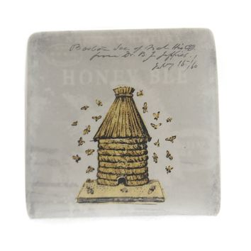 Tabletop BEE SQUARE PLATE Ceramic Hive Insect Jewelry Holder Da5200 Hive