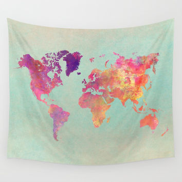 world map 102 #worldmap #map Wall Tapestry by jbjart