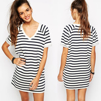 Casual Striped Shift Dress