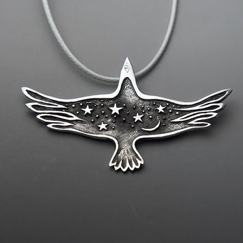 Starry Raven Jewelry - Black Raven Pendant  - Night Sky with Stars and Moon