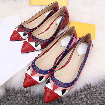 Summer Rivet Red Leather Shoes [4920336644]