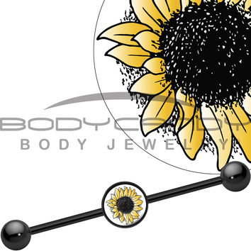 14 Gauge Black Anodized Yellow Sunflower Industrial Barbell 37mm
