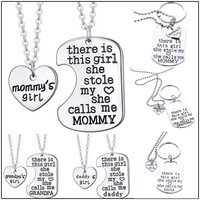 There is a Girl She Stole My Heart Silver Family Necklace