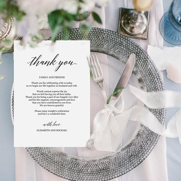 Elegant thank you note for wedding, Personalized thank you card template editable PDF, Rustic thank you note card Printable thank you letter