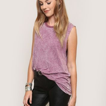 Faded Muscle Tank - Burgundy - Tops - Clothes at Gypsy Warrior