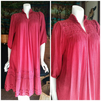 70's Dusty Rose Red Bohemian Gauze Dress with Lace Crochet Details, Loose Lightweight Midi Boho Dress, Poet Sleeve Hippie Dress, Sz MD/LG