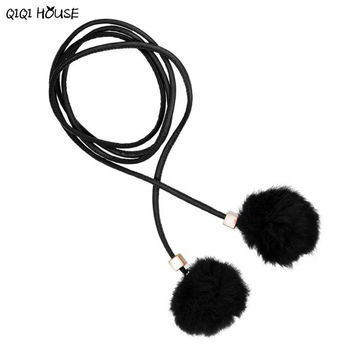Fur Belts For Women Leather Waist Chain Hairball Cute Candy Color Elegant Ladies Youth Girl Cinturones Mujer#B725