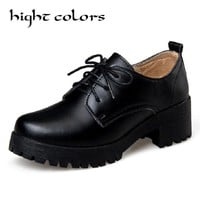 Vintage England Cow Leather Women Oxfords Leather Shoes Thick Soles Student Shoes Ladies Lace Up Platform Casual Work Oxfords