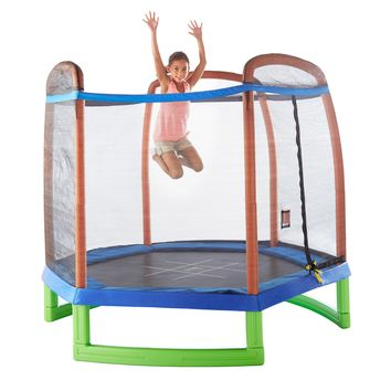 Pure Fun 7ft Kids Trampoline with Enclosure + Tic-tac-toe