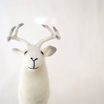 White Greger -   Deer, Standing Art Animal, Felted Stuffed Toy. neutral white. SPECIAL ORDER for Mariana.