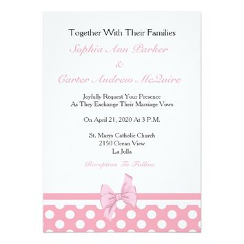 Cute Pink and White Polka Dot Patterned Wedding Card