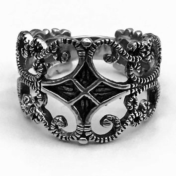 Medieval Ring, Gothic Ring, Celtic Ring, Sterling Silver Celtic Ring, Gothic Jewelry, Medieval Design, Gothic Scroll Ring