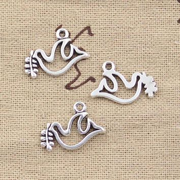 99cents 15pcs Charms Peace Dove Olive 20*13mm Antique Making Pendant Fitvintage Tibetan Silverdiy Bracelet Necklace