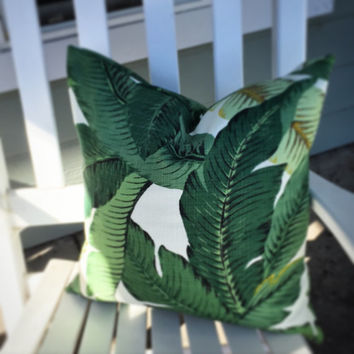 Palm Leaf Pillow Cover - Tommy Bahama Fabric Pillow, Indoor Outdoor Pillow, Tropical Pillow, Patio Pillows, Porch Pillows, Outdoor Cushion