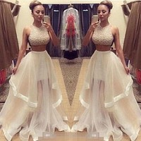 Sexy Women Lady Two Piece Sequins Tulle Prom Dresses Formal Evening Party Gown