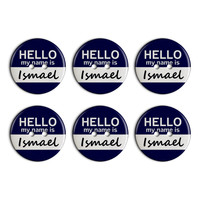 Ismael Hello My Name Is Plastic Resin Button Set of 6