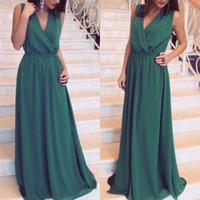 Army Green Plain Draped V-neck Elegant Chiffon Maxi Dress