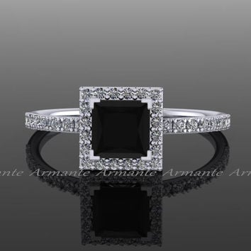 Black Diamond Princess Cut Engagement Ring, 14K White Gold Natural White and Black Diamond Halo Ring, Wedding Ring RE57.5BK