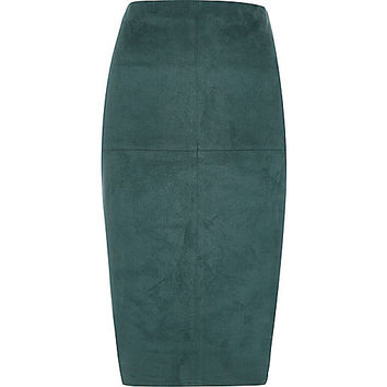 Dark turquoise suede look pencil skirt