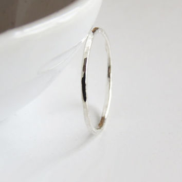 Super Thin Silver Stacking Ring Light Hammered Shine  - Skinny Stacking Ring - Trendy Chic Jewelry