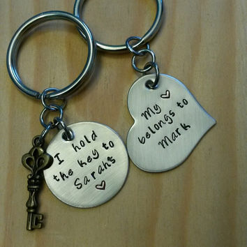 Hand Stamped Keychain - Couples Keychain - Key To My Heart and My Heart Belongs To - Anniversary Gift